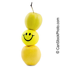dieting, waga, jabłko, uśmiech