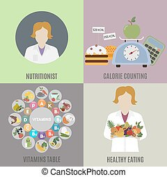 Dietitian and healthy eating. Flat isolated vector...