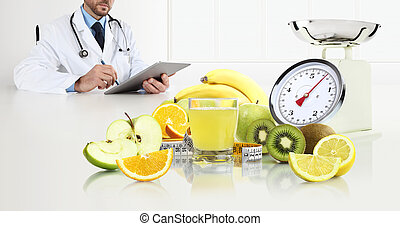 dietitian nutritionist doctor prescribes prescription by consulting the digital tablet sitting at the desk office with fruits, glass juice, tape meter and scales, healthy and balanced diet concept, web banner and copy space template