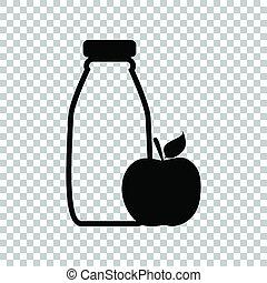 dietology, illustration., apple., 印。, バックグラウンド。, 黒, びん, 透明, アイコン