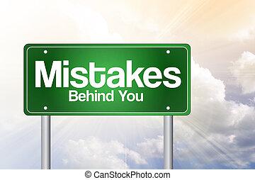 dietro, affari, strada, verde, segno, errori, concetto, lei