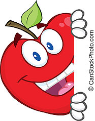 dietro, bastonatura, mela, rosso, segno