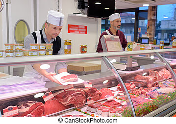 dietro, contatore, preparare, macellaio, carne