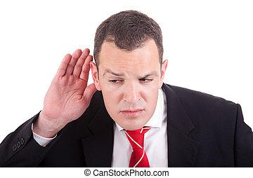 dietro, gesto mano, fondo, isolato, uomo affari, indicatore, bianco, orecchio, ascolto