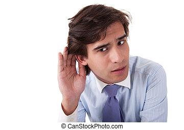 dietro, gesto mano, isolato, uomo affari, indicatore, bianco, orecchio, studio, ascolto, colpo, giovane, fondo.