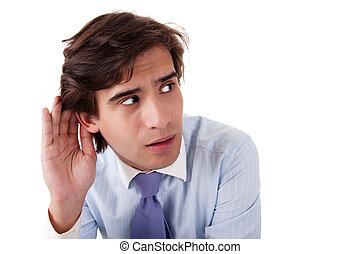 dietro, gesto mano, uomo affari, indicatore, ascolto, giovane, orecchio