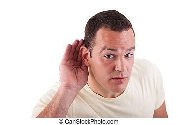 dietro, gesto mano, uomo, fondo, isolato, indicatore, bianco, orecchio, ascolto