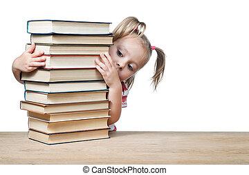 dietro, libri, fuori, occhiate, bambino