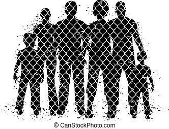 dietro, recinzione di fil di ferro, persone