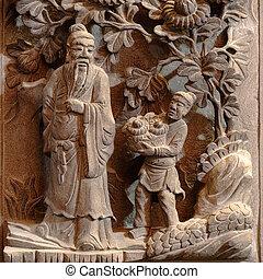 dieu, histoire, chinois, découpage