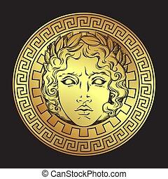 dieu, illustration, grec, romain, vecteur, apollo