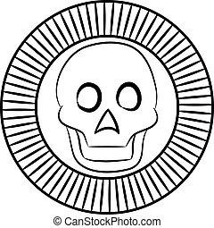 dieu, mort, aztèques, stylization, crâne