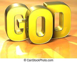 dieu, mot, fond, jaune, 3d