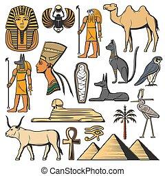 dieux, ancien, pharaon, pyramides, sphinx, egypte