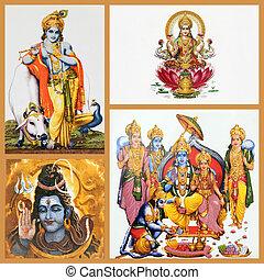 dieux, céramique, hindou, -, tuiles, composition