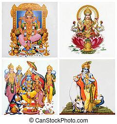 dieux, images, tuiles, ensemble, antiquité, hindou