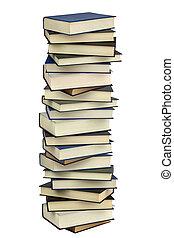 difícil, cobertura, isolado, alto, livros, pilha