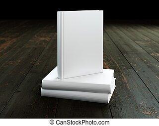 difícil, cobertura, wood., livro, modelo, em branco