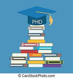 difícil, e, longo, maneira, para, doutor, de, filosofia,...