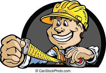 difícil, ilustração, vetorial, medida fita, profissional, chapéu, homem à mão