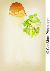 difícil, polegar, vindima, matches., cima, arquiteta, homem, casa, illustration., 3d, chapéu, style., registro