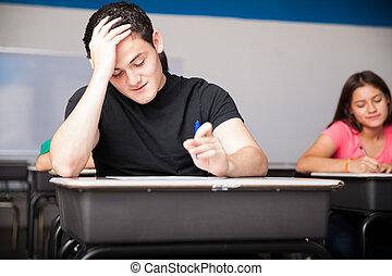difícil, teste, em, escola secundária