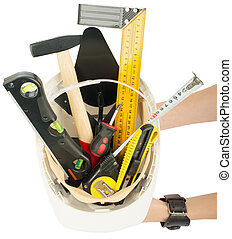 difícil, trabalhador, construção, incluindo, Materiais, chapéu