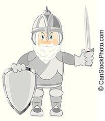 difensivo, cartone animato, guerriero, antico, panoplia, mandare