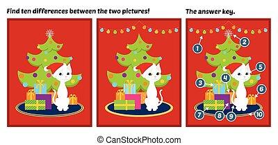 diferenças, árvore, achar, gato branco, natal