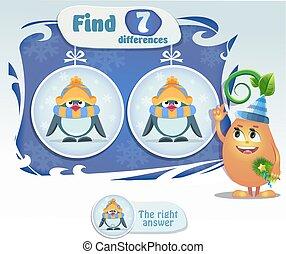 diferenças, achar, 7, pingüim