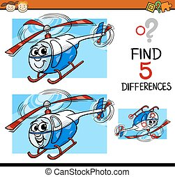 diferenças, caricatura, ilustração, tarefa
