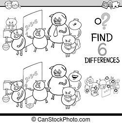 diferenças, coloração, página, atividade