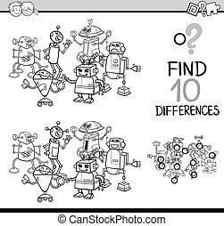 diferenças, coloração, tarefa