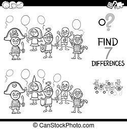diferenças, com, criança, mascarado, bola, cor, livro