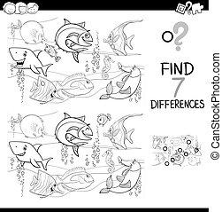 diferenças, com, peixe, caráteres, cor, livro