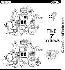 diferenças, jogo, com, spooky, caráteres, cor, livro