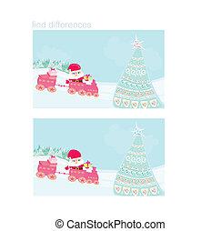 diferenças, -, natal, trem, santa, achar