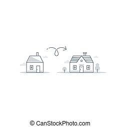 diferencia, concepto, más pequeño, hogar, más grande