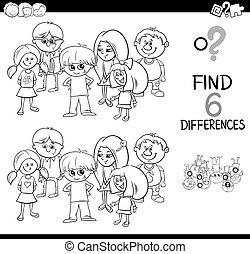 diferencia, juego, colorido, página