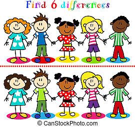 diferencia, juego, con, niños, figuras del palillo