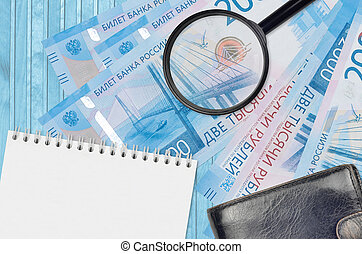 diferencias, bolsa, rubles, falsificación, aumentar, notepad., dinero., dinero, detalles, búsqueda, concepto, cuentas, vidrio, 2000, negro, ruso, detectar, falsificación