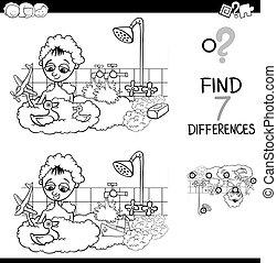 diferencias, con, niño, en, baño, color, libro
