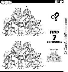 diferencias, fiesta, tarea, niños, color, página, disfraz, libro