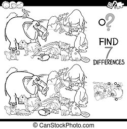 diferencias, juego, con, animales, grupo, libro colorear