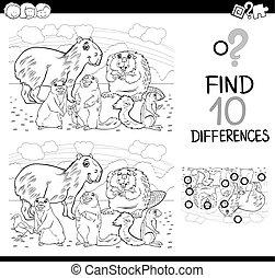 diferencias, juego, con, mamíferos