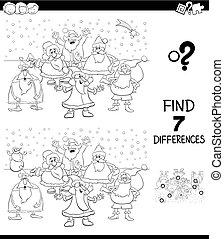 diferencias, juego, con, navidad, santa, color, libro