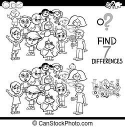 diferencias, juego, con, niños, libro colorear