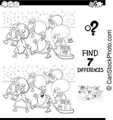 diferencias, juego, con, santa claus, caracteres, color,...