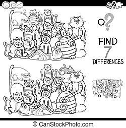 diferencias, juego, hallazgo, colorido, gatos, libro