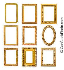 Diferent shape golden frames on white background